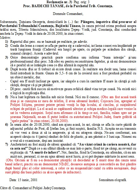 Proc. BAJDECHI TĂNASE, PARCHET TRIB CONSTANTA